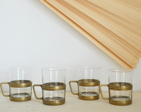 Mid century set tea glasses brass gold glass brass tea glasses
