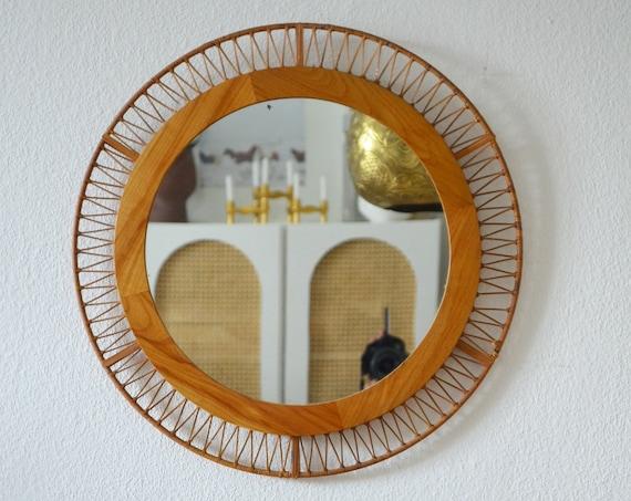 Vintage Bamboo Mirror round Wall mirror mirror bamboo rattan wicker boho bohemian