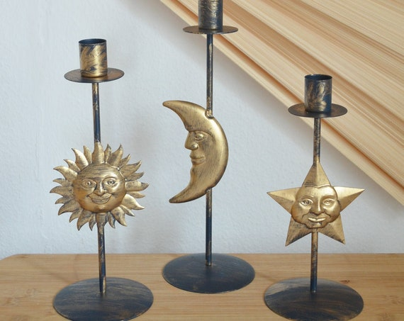 Vintage Sun, Moon and Star Candlestick Set Blue - gold
