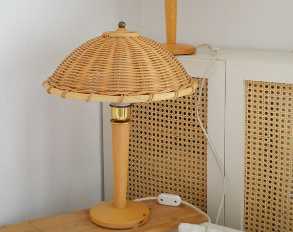 Vintage table lamp set of rattan & wood mid century gold, brass vintage desk lamp, table lamp 1950's