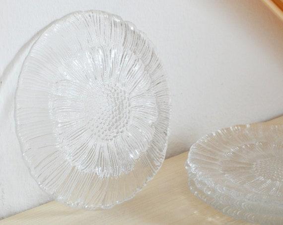 Vintage sunflower glass plate flower flower plate glass