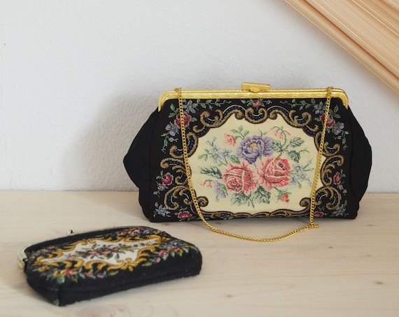 Vintage brocade handbag theater bag with matching purse black floral gold chain