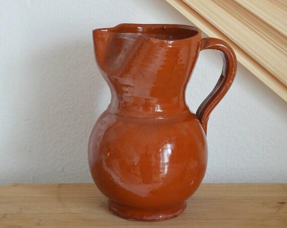 Vintage jug ceramic vase jug 1960s rust brown rust brown terracotta home décor mid century danish design studio pottery