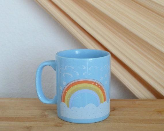 Vintage Kiln Craft Rainbow Cup Drinking Mug Kids, rainbow mug kids