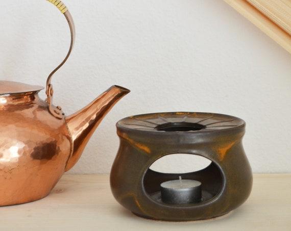 Stövchen stoneware brown speckled vintage