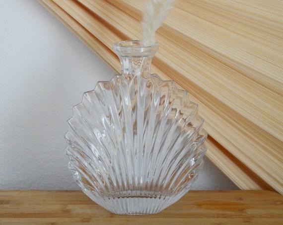 Large vintage shell vase bottle glass shell crystal glass handmade