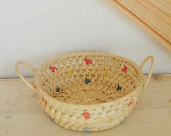 Vintage rattan fruit bowl basket pink bowl vintage wicker fruit basket round boho