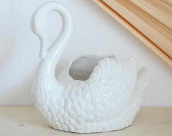 Flower pot vase swan vintage white