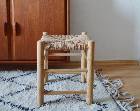 Vintage Sisal Rattan Stool boho stool wicker mid century