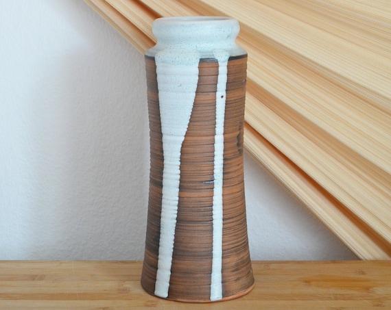 Vintage ceramic vase 1960s brown white home décor mid century danish design studio ceramic