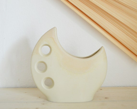 Mid century vase beige moon handmade round circle with hole