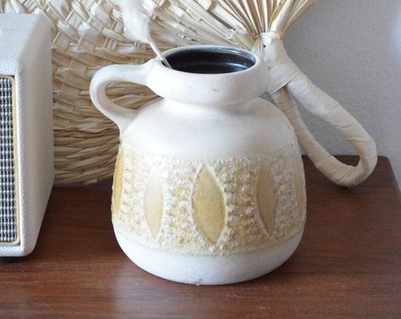 Vintage West Germany Inca Ethno Jug Vase with Handle Beige boho