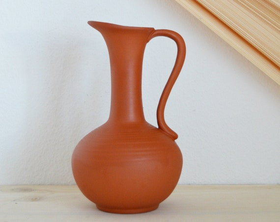 Vintage ceramic vase jug 1960s rust brown rust brown terracotta home décor mid century