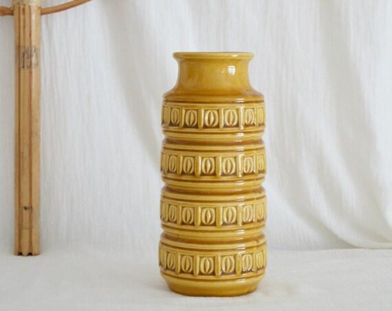 Vintage Inka Scheurich Vase mustard mustard mustard yellow yellow 23 cm boho mid century