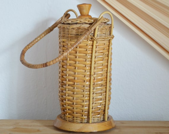 Vintage Rattan Basket with Handle
