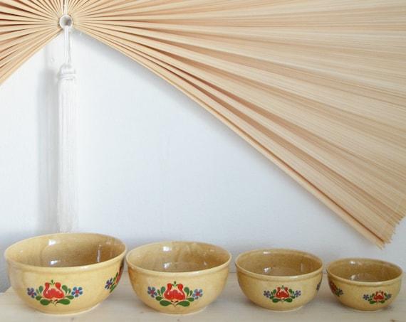 Set of 4 DDR bowls beige earthenware ceramic vintage