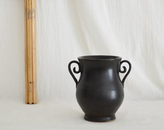 Vintage Ceramic Vase Amphora black home decor mid century
