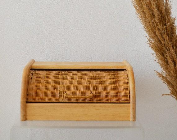 Vintage rattan bread box basket bowl vintage wicker boho basket bread box