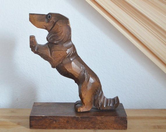 Vintage Dachshund Bookend Wood Roof Dog Home Decor Viennese Dog