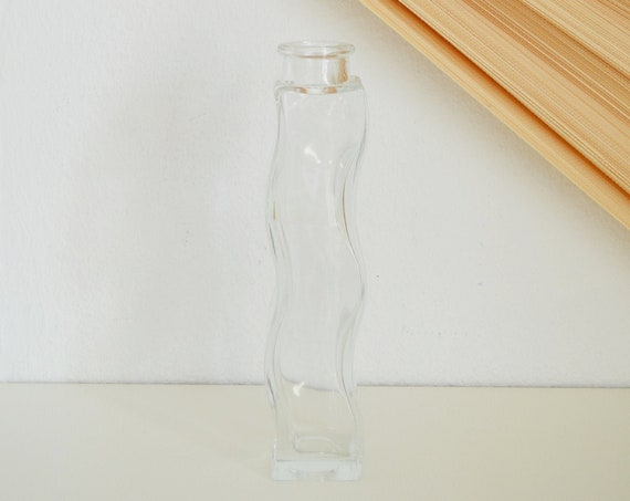 Large vintage vase bottle glass 80s asymmetrical