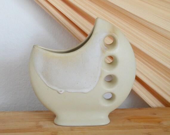 Mid century vase beige handmade round circle with hole