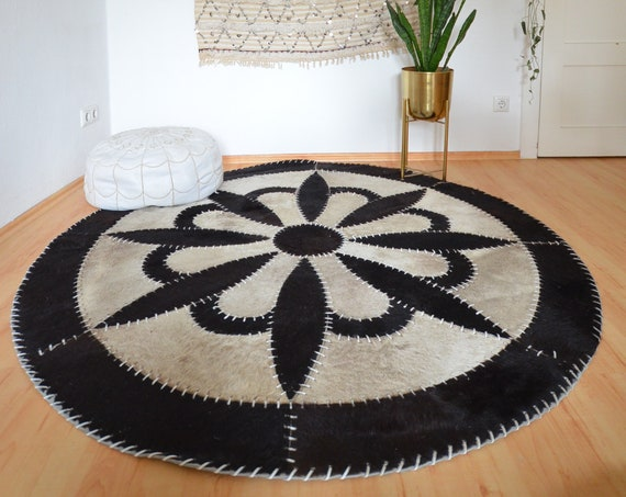 Moroccan leather rug round black and white