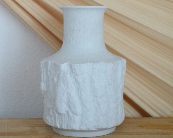Vintage West Germany vase white white Bareuther Waldsassen Bavaria Mid century