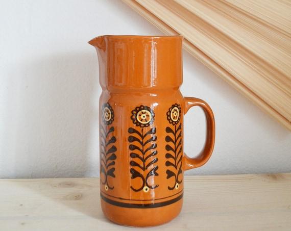 Vintage jug vase jug 1970s flower power terracotta brown yellow black home décor mid century danish design