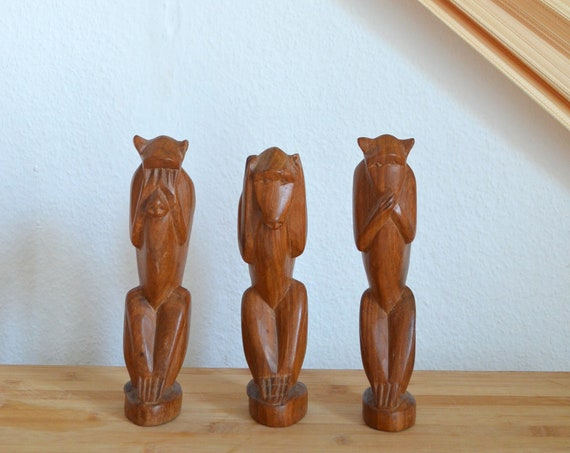 Vintage monkey wooden figures set figurine hand carved wood