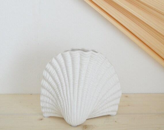 Large vintage shell vase white shell white