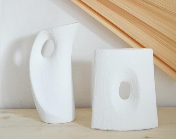 Mid Century textured vase white handmade with hole