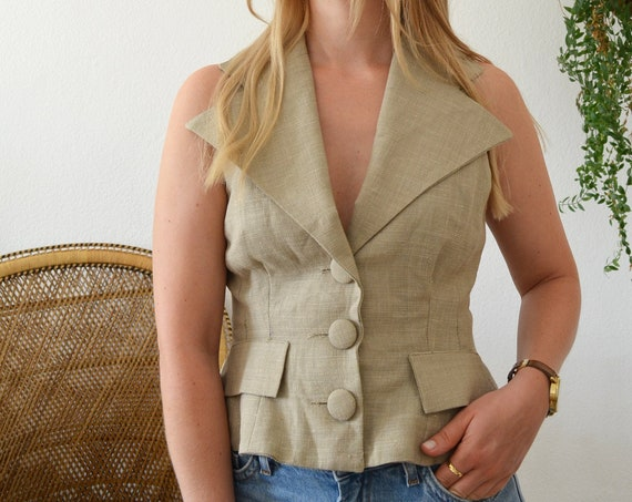 Vintage vest wool and linen beige size S/ 36