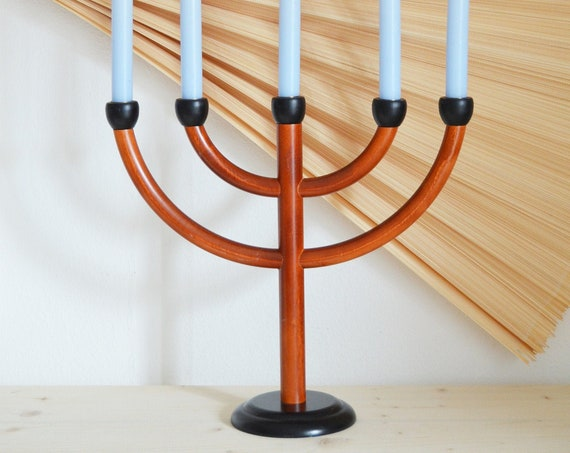 Mid Century wood candlestick handmade candle holder vintage candleholder wood brass home décor