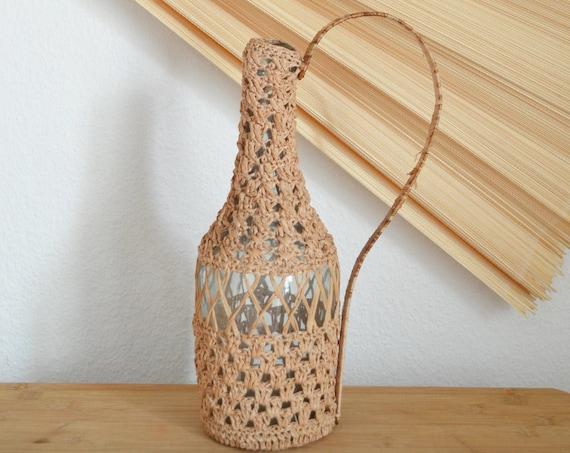 Mid century vase beige macrame rattan straw bottle crocheted handmade