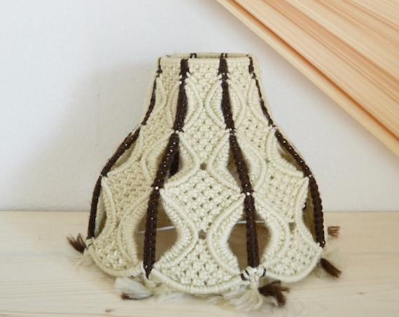 Mid century hanging lamp wool macrame round lampshade hanging lamp shade round boho