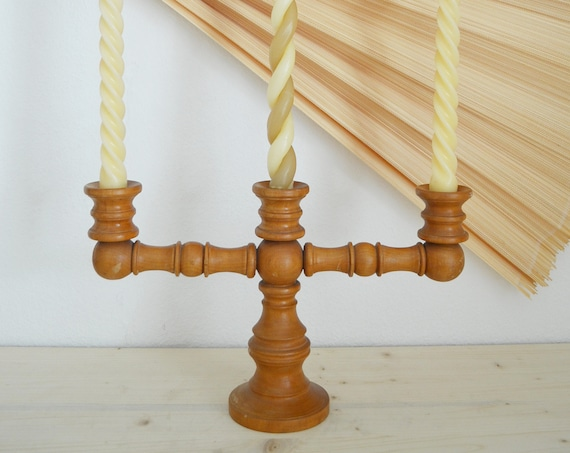 Mid Century wood candlestick handmade candle holder vintage candleholder wood home décor