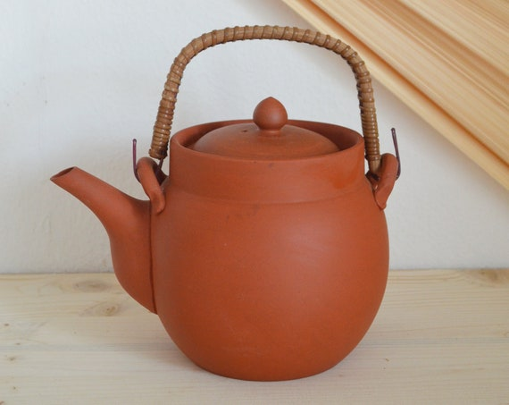 Teapot Terracotta Rattan Clay Stoneware Vintage Handmade boheme
