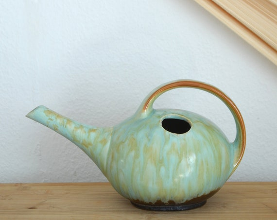 Vintage watering can made of ceramic mint green beige speckled