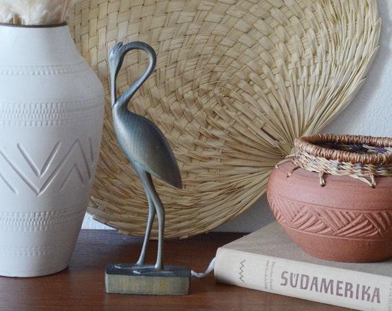 Mid Century teak wood crane figurine wood bird statue vintage 1950's home decor boho bohemian