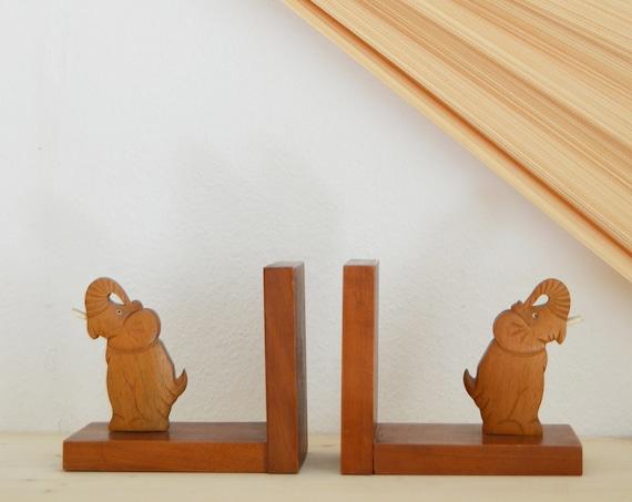 Mid Century Bookends Set Elephant Wood Home Decor
