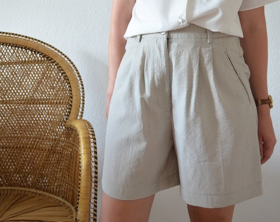 Vintage Shorts Taupe/White Checkered Size M/38