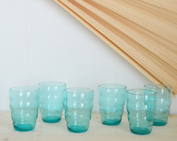 Set of 6 drinking glasses glass wavy wave wave turquoise blue 90s 90s
