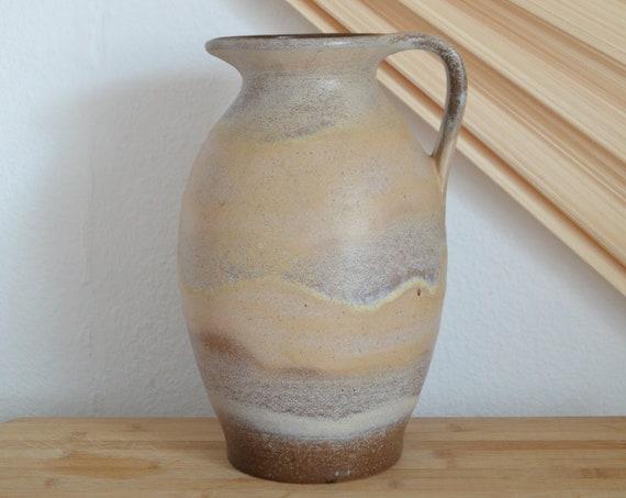 Jug ceramic vase jug 1960s beige brown home décor mid century studio pottery