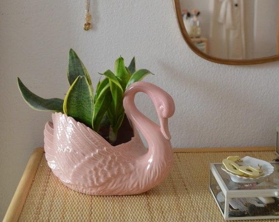 Flower pot vase swan vintage pink