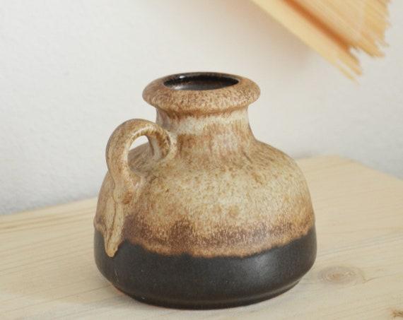 Mid century vase jug by Scheurich ceramic black beige handmade round circle