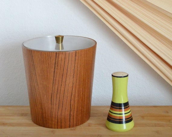 Vintage Ice Bucket from Japan - Wood with Acrylic and Brass