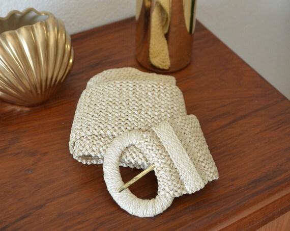 Vintage belt straw rattan gold boho