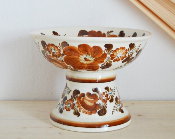 Large vintage bowl bowl ceramic earthenware floral flowers beige brown