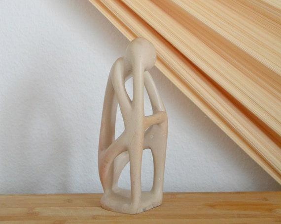 Mid century earthenware figurine vintage stone