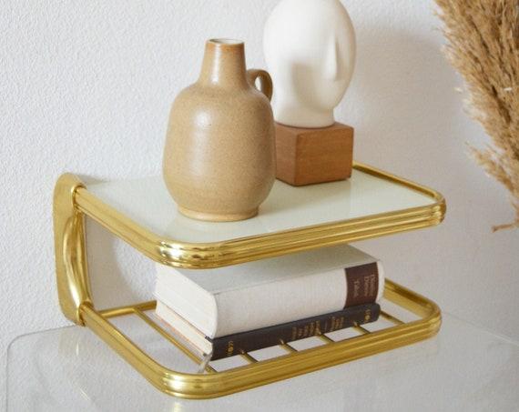 Mid Century wall shelf gold/white brass wire shelf brass phone table shelf